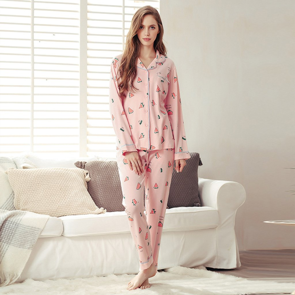 Sweet Cartoon Cardigan B075L8B26M Pijamas de punto de algodón ...