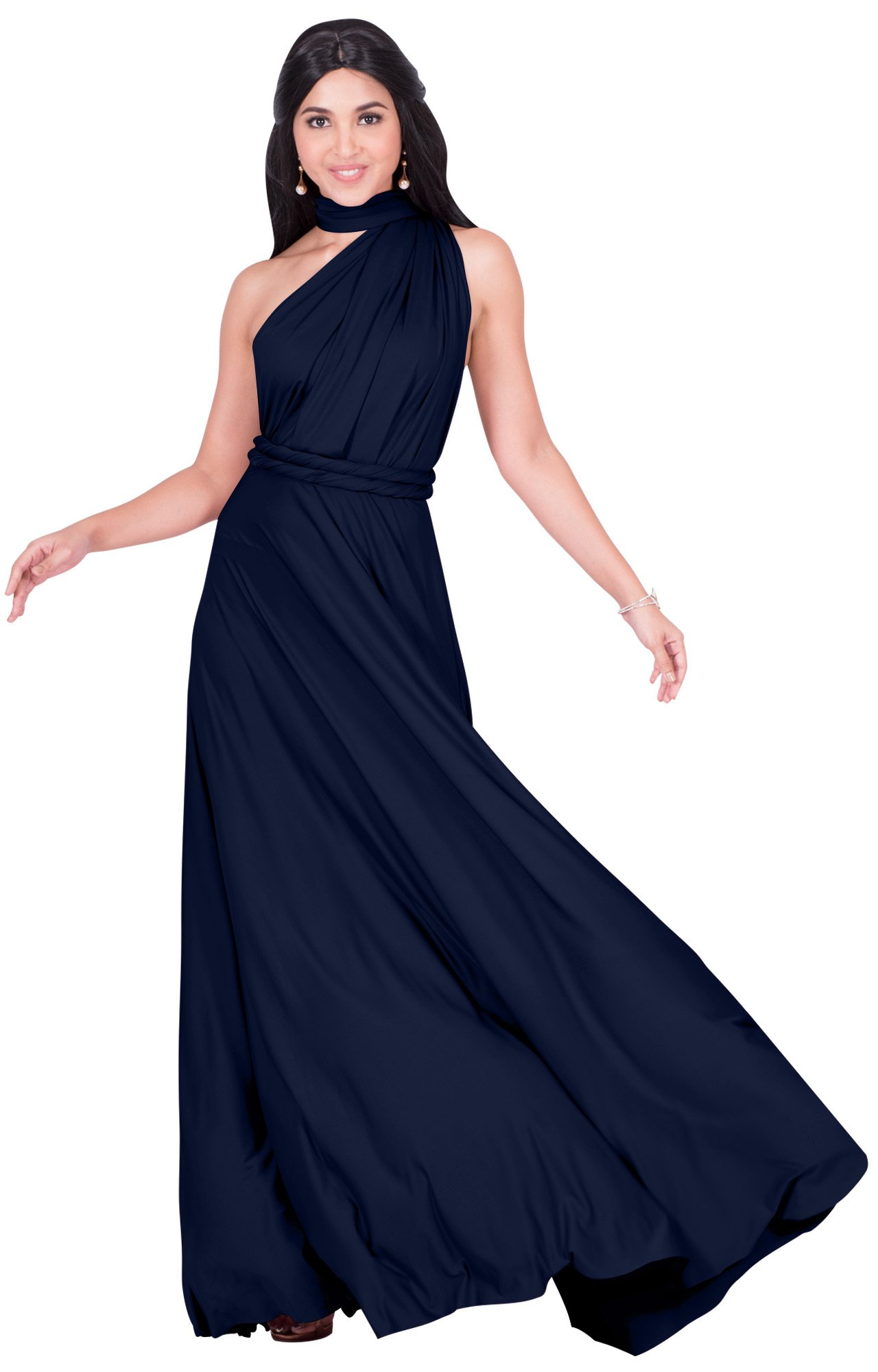 KOH KOH Plus Size Womens Long Bridesmaid Multi-way Wedding Convertible Wrap Infinity Cocktail Sexy Summer Party Formal Prom Transformer Gown Gowns Maxi Dress Dresses, Navy Blue XL 14-16
