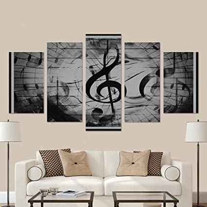 InterestPrint Graphic Design Notes And Note Lines In Frame, Music Concept  Black And White Poster
