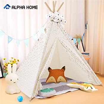 Alpha Home Teepee Kids Canvas Play Tent with Carry Bag