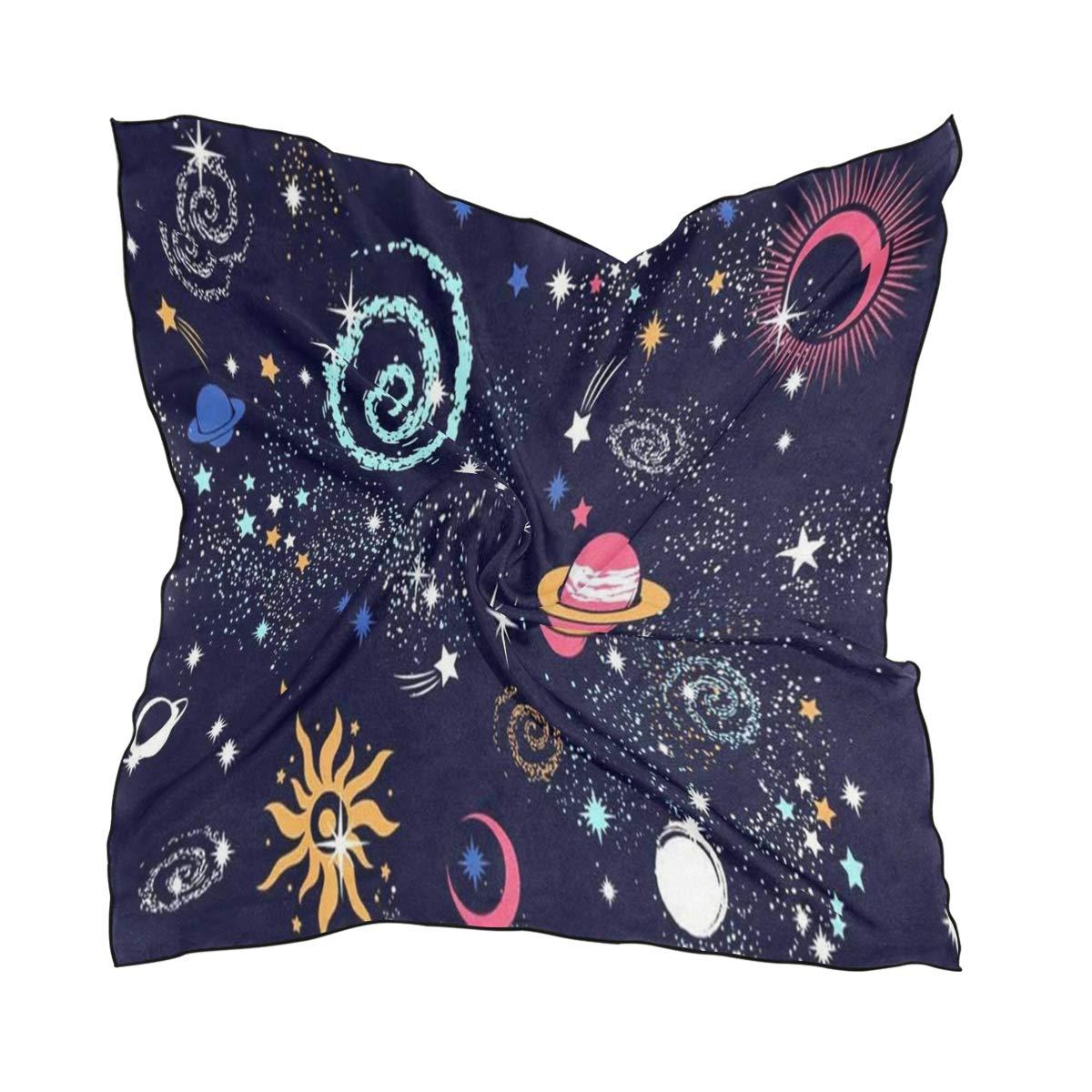 Scarf Galaxy Space Sun Moon Womens Square Silk Scarves Shawl Wrap for Lady Girls