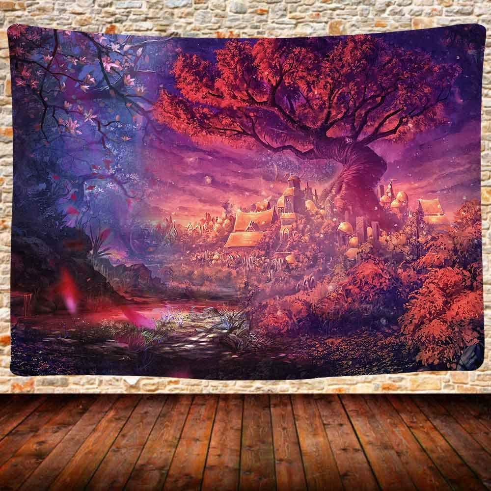 Fantasy Decor Tapestry Wall Hanging, Forest Red Tree of Life Tapestry, Fairy Tale Forest Fantasy Landscape Mysterious Tree Tapestry for Room Decor 80x60 Inches GTDSUH301