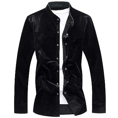03f51877b90 Thadensama PL Size 6XL Long Sleeve Shirts Men Gold Velvet Stand Collar Mens  Dress Shirts Slim