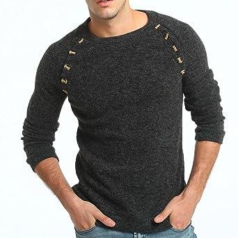 1e1ef031a Suéter de hombre Otoño invierno Jersey Slim Tops Prendas de punto de hombre  Sudadera para hombre LMMVP (L, Gris Oscuro)