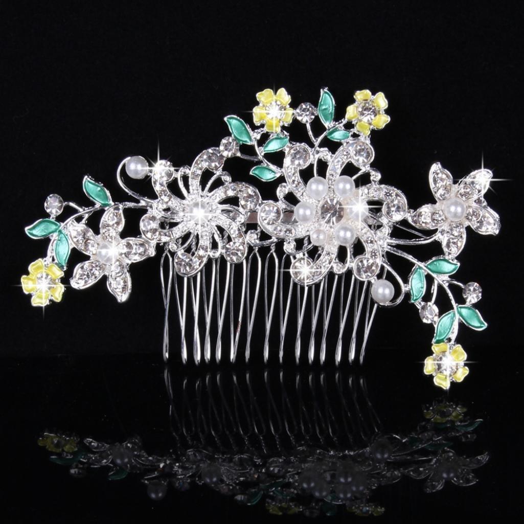 505e6581f725 Steellwingsf Wedding Bridal Flower Imitation Pearl Rhinestone Hair Comb  Hairpin Clip Jewelry (Blue)  Amazon.co.uk  Beauty