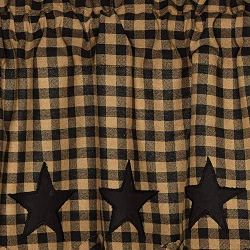 VHC Brands Black Star Scalloped Short Panel Set of 2 63×36 Country Curtain