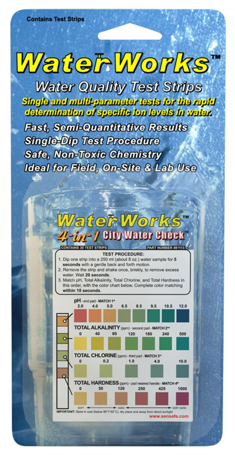 Industrial Test Systems WaterWorks 481113-30 4-in-1 City Water Check, 35 Seconds Test Time (Pack of 30)