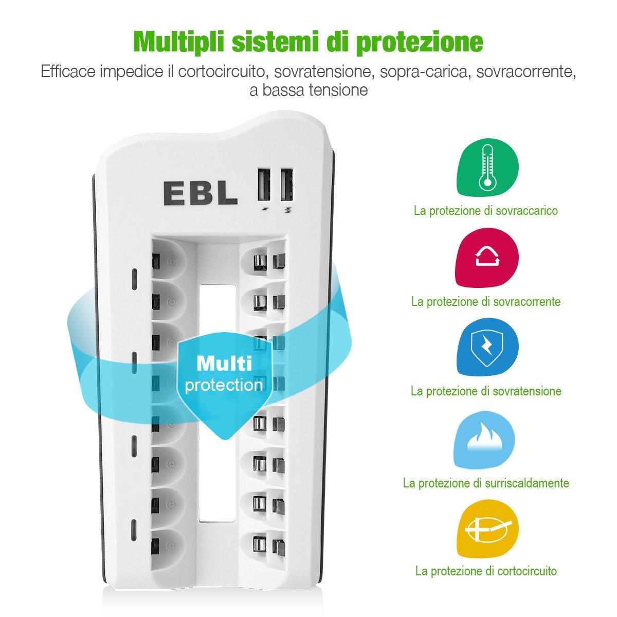 EBL Caricabatterie 8 slot A Sina per batterie ricaricabili AA e AAA NI-MH NI-CD, con due USB output, confezione con AA pile ricaricabili da 8 pezzi