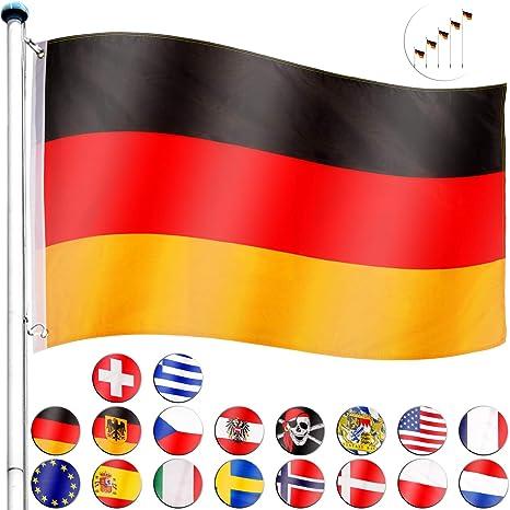 FLAGMASTER® Aluminium Fahnenmast 6,5m + Flagge, 5fach höhenverstellbar, 3 Jahre Garantie, 18 Verschiedene Fahnen zur Wahl, Ko