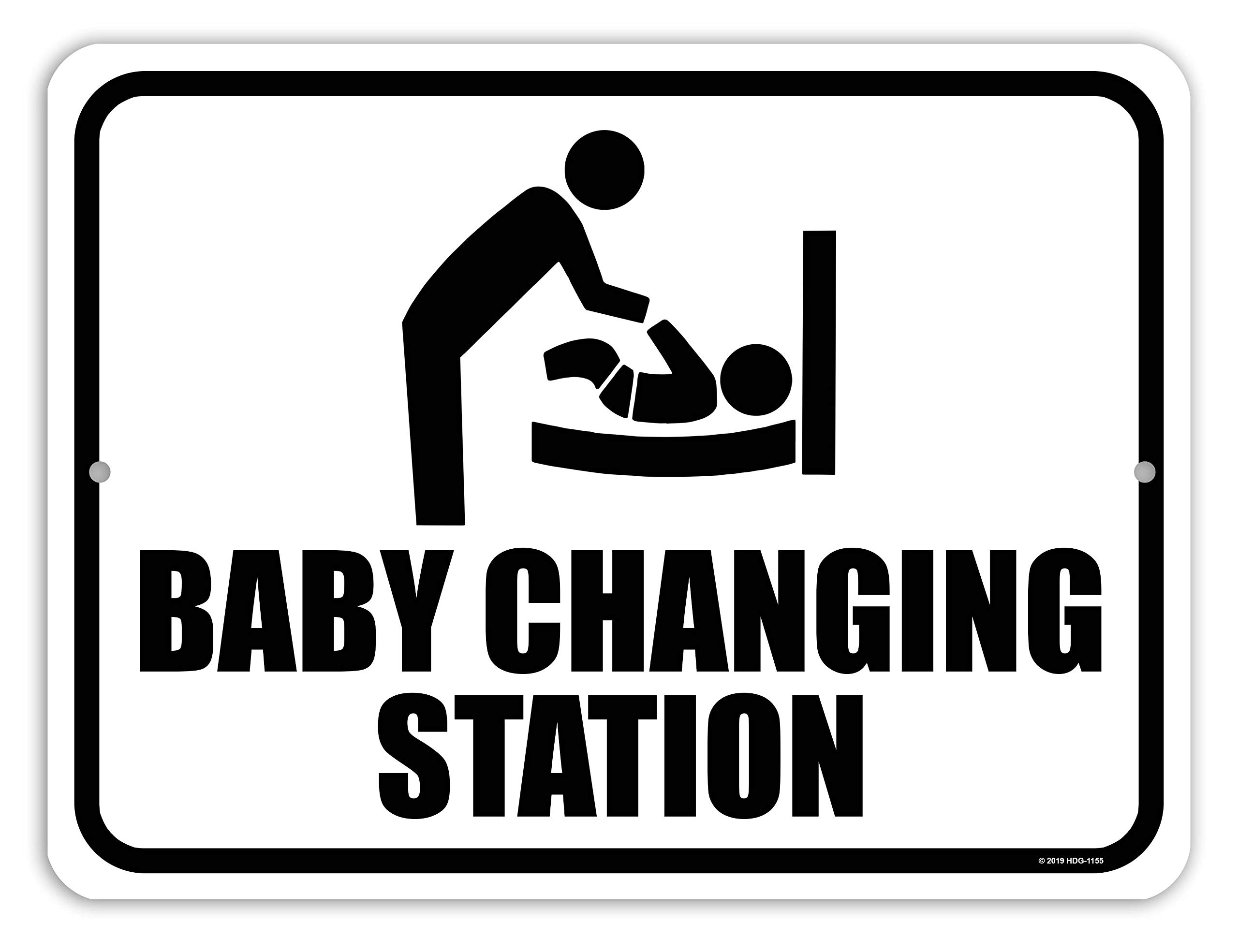 Honey Dew Gifts Restroom Sign, Baby Changing Station 9 inch by 12 inch Metal Aluminum Baby Changing Station Sign for Business, Made in USA by Honey Dew Gifts