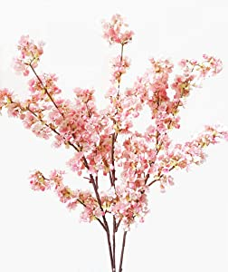 Ahvoler 39 Inch Artificial Cherry Blossom Branches Flowers Silk Peach Flowers Arrangements for Home Wedding Decoration (3 pcs Pink)
