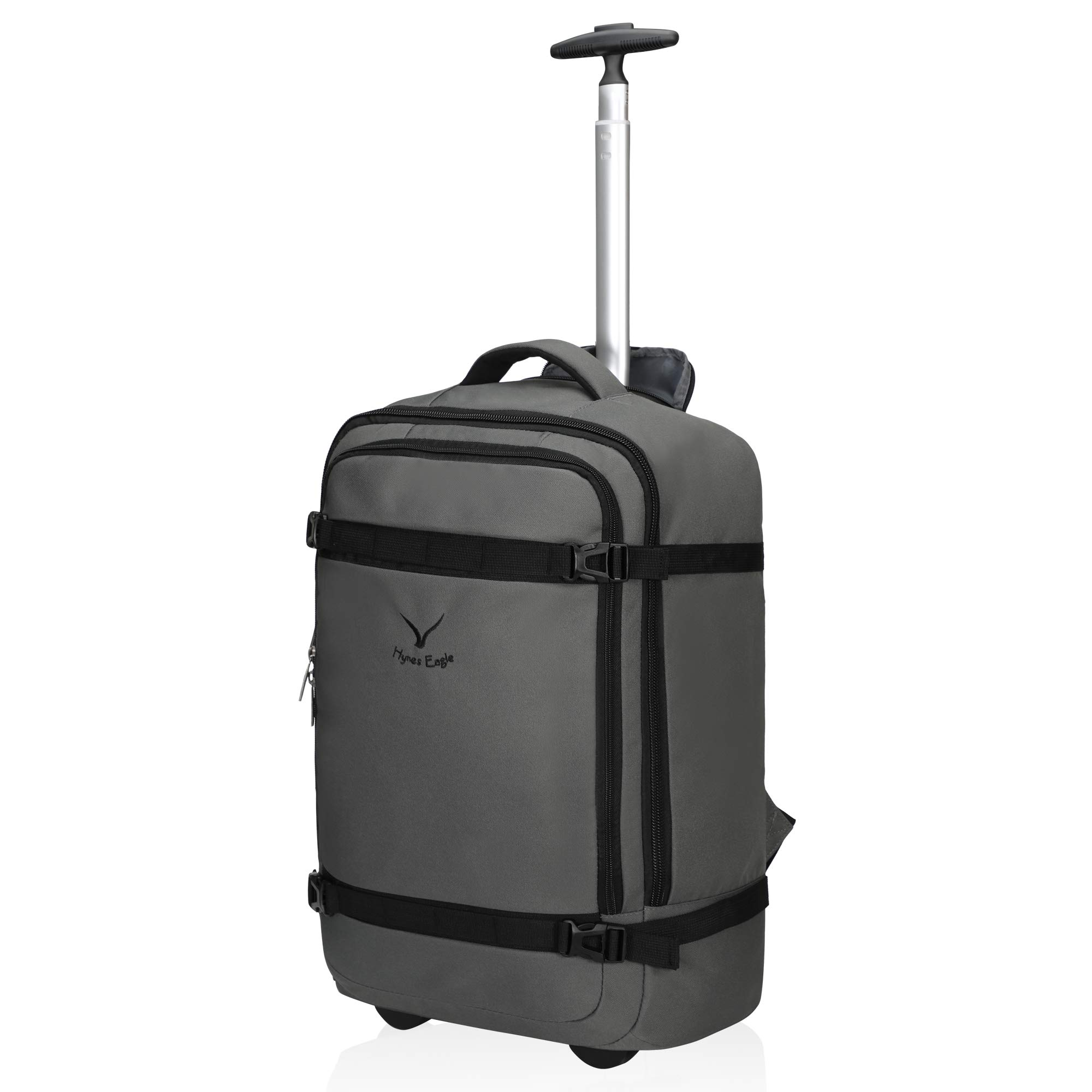 Hynes Eagle 42L Rolling Backpack Wheeled Backpack Flight Approved Carry on Luggage Travel Backpack Grey by Hynes Eagle