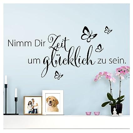 Wandaro Wandtattoo Spruch Nimm Dir Zeit um I schwarz (BxH) 80 x 36 cm I  Aufkleber selbstklebend für Wohnzimmer Schlafzimmer Wandaufkleber Zitate ...