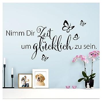 Wandaro Wandtattoo Spruch Nimm Dir Zeit um glücklich I schwarz 80 x ...