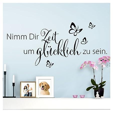 Wandaro Wandtattoo Spruch Nimm Dir Zeit Um Glücklich I Schwarz 80 X