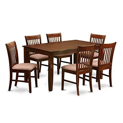 7 piece dinette set east west east west furniture duno7mahc 7piece dinette table set mahogany amazoncom