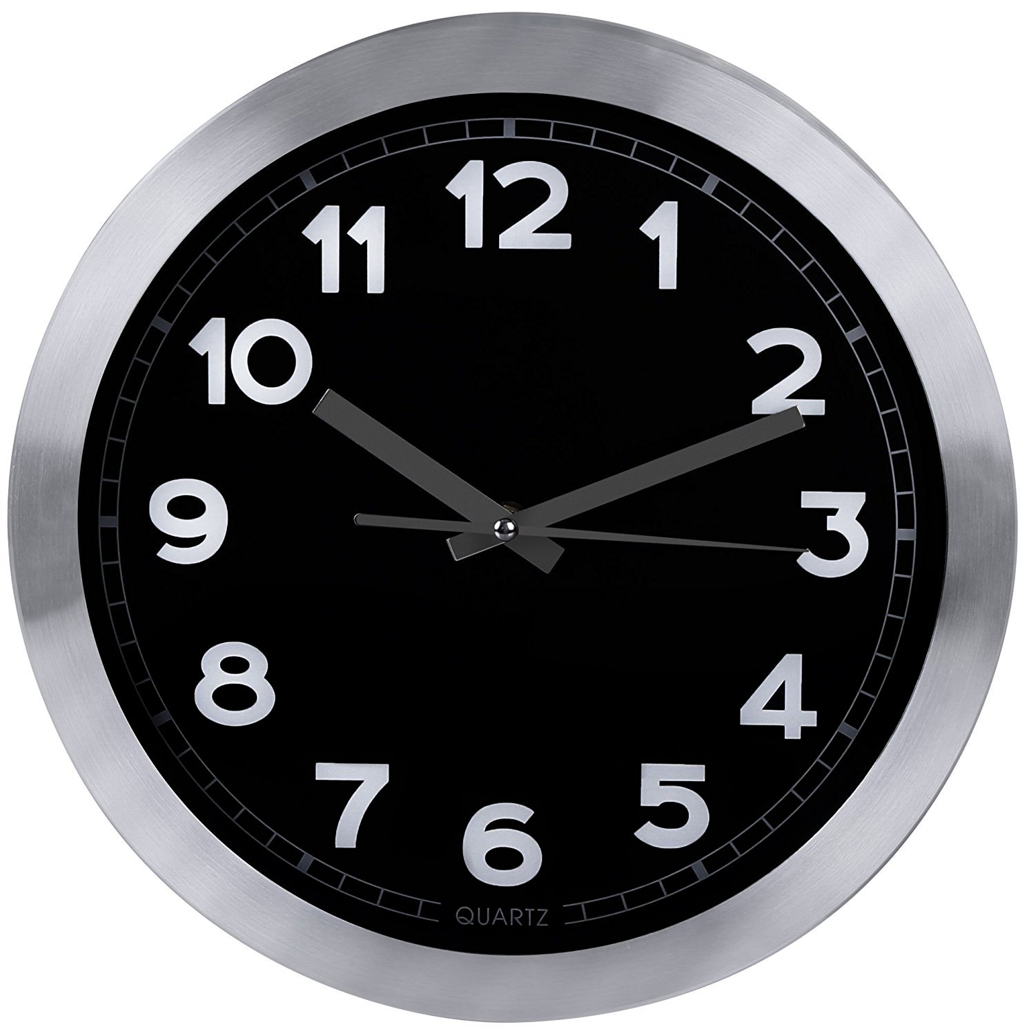 Utopia Home Decorative 12-Inch Black Wall Clock (Aluminum) - Non-Ticking, Silent Sweep Function - Black Dial with White Numbers & Silver Hands - Battery Operated -  - wall-clocks, living-room-decor, living-room - 71XzJBlFxYL -