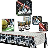 Star Wars Birthday Party Supplies Pack for 8 Guests - 8 lunch plates, 8 dessert plates (4 of each design), 16 lunch napkins, 8 cups, and a table cover