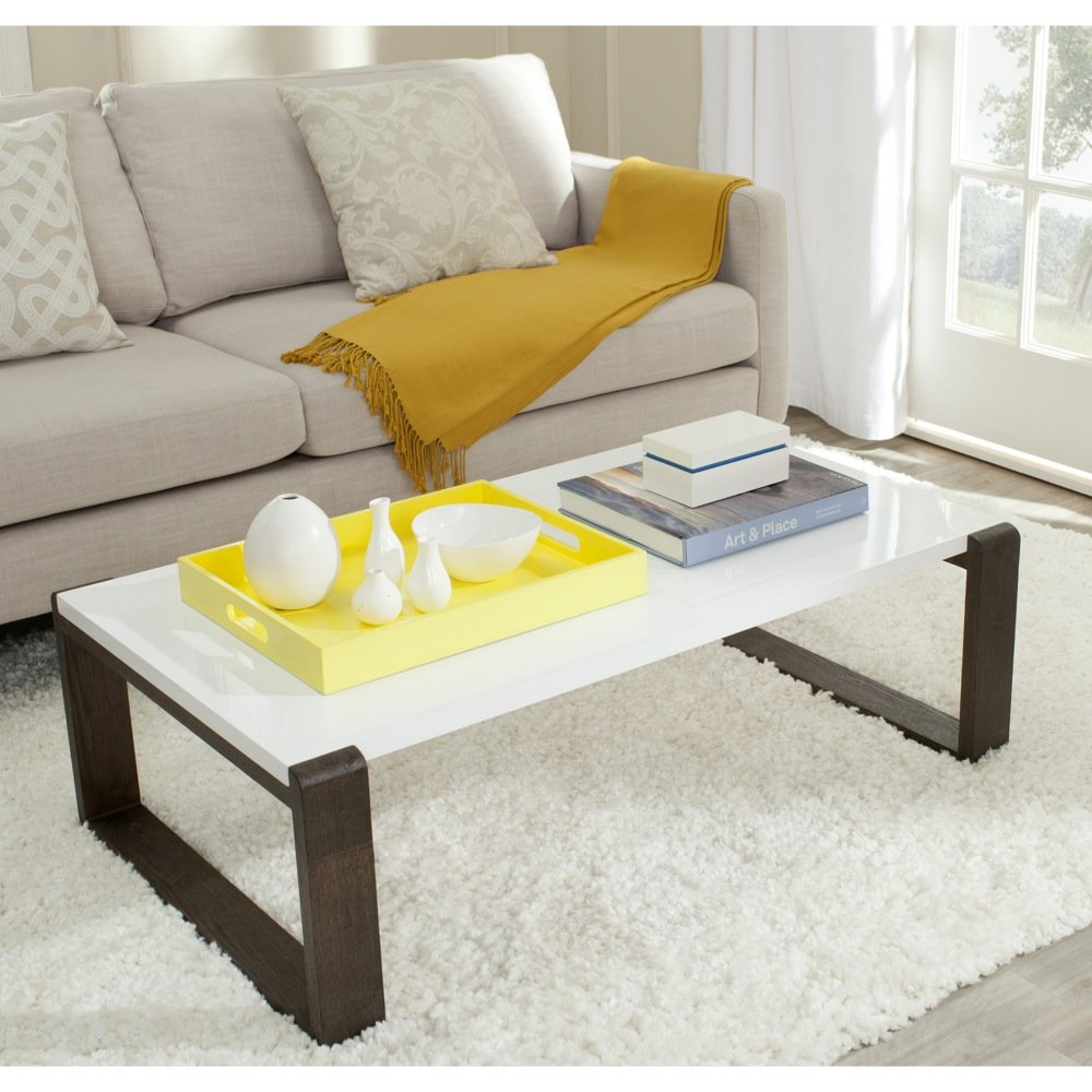 Safavieh Home Collection Bartholomew Mid-Century Modern White and Dark Brown Coffee Table by Safavieh