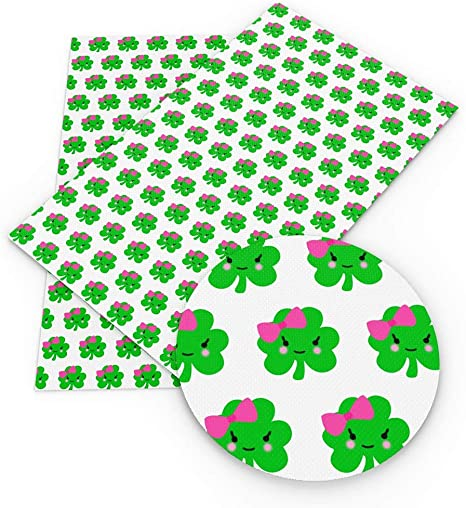 for DIY Bows Earrings Making Crafts David accessories St Patricks Leaves Printed Faux Leather Fabric Sheets 6 Pcs 7.8 x 13.3 20 cm x 34 cm Assorted