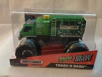 Matchbox On A Mission 1:24 Scale Green Trash U0026 Bash Garbage Monster Truck