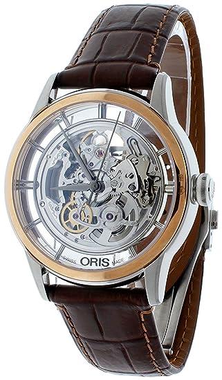 0dec3858300 Oris Artelier Translucent Skeleton Automatic Steel   18k Rose Gold Mens  Watch 734-7684-6351-LS  Oris  Amazon.ca  Watches