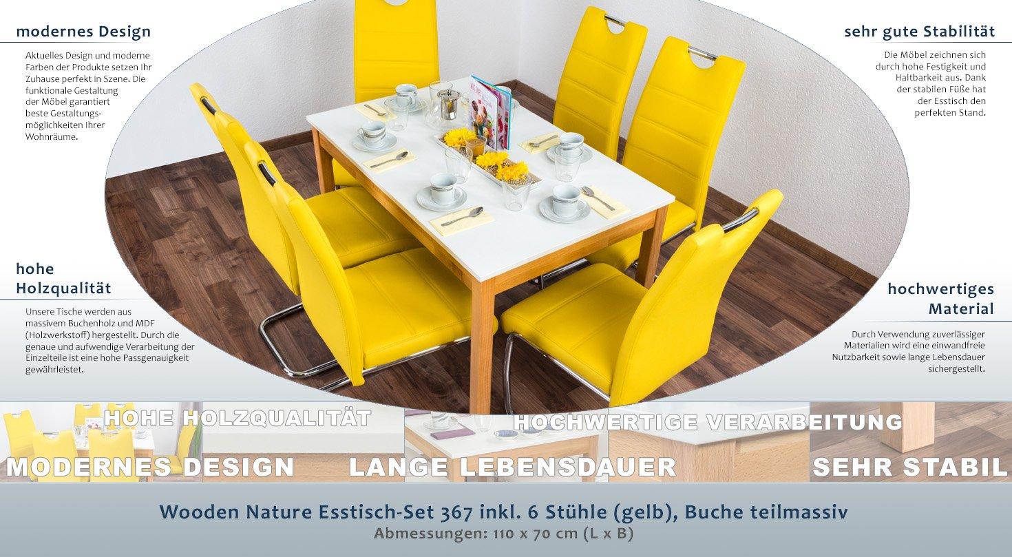 Wooden Nature Esstisch-Set 367 inkl. 6 Stühle (gelb), Buche ...