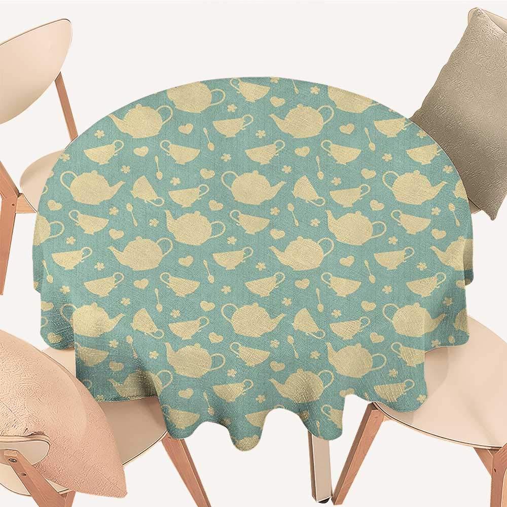 longbuyer ティーパーティー 布製テーブルクロス 紅茶とクッキーをテーマにした水玉模様のティーカップ ハート型スイーツ ロマンチックな休憩 マルチカラー D 70