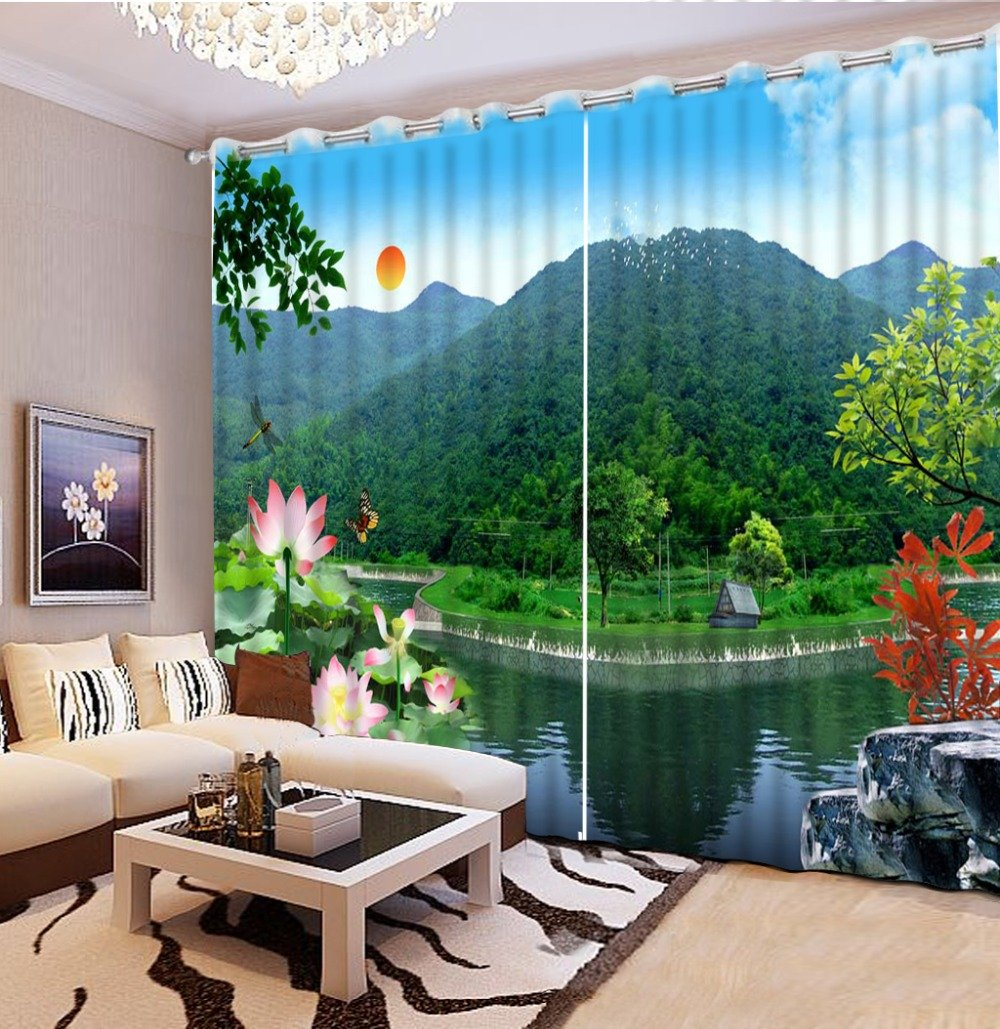 Sproud 3D Printing Curtains Lifelike Room Decorations Blackout Cortians Beautiful Full Light Shading Curtains 260Dropx300Wide(Cm) 2 pieces