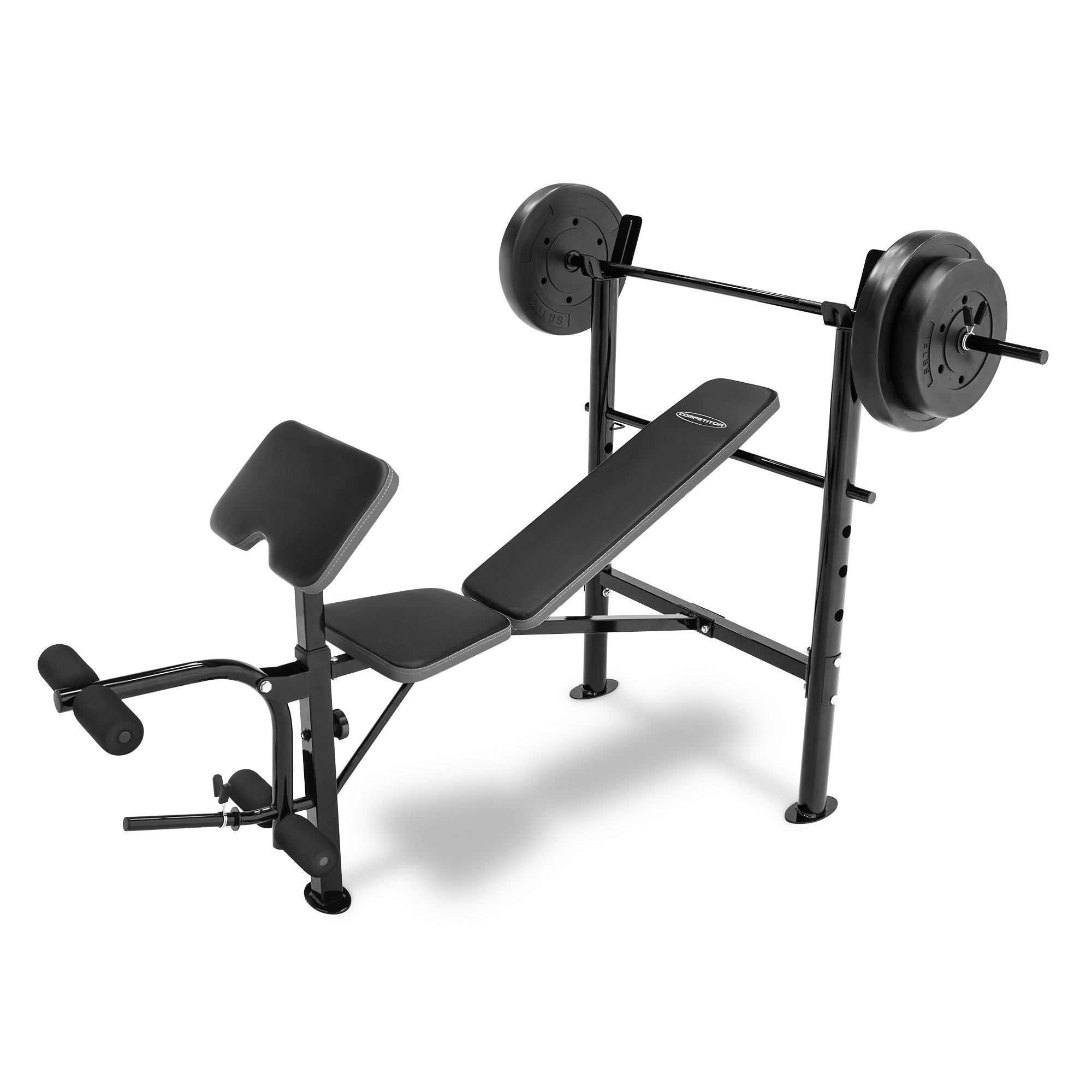 COMPETITOR Marcy Workout Bench with 80 lbs Weight Set Combo (Black) - CB-20110 by COMPETITOR