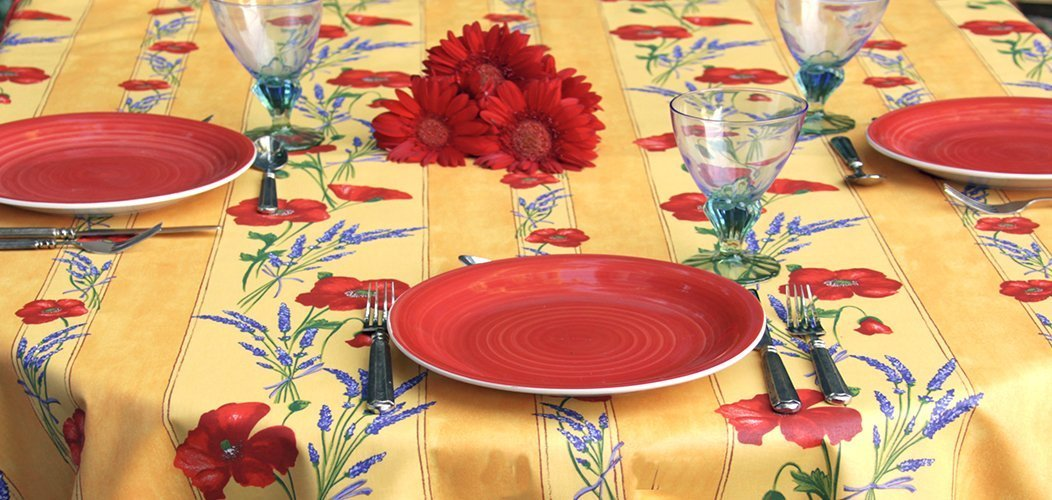 72 to 130 inches Rectangular or Oval Tablecloth Provence Poppies and Lavender in Gold - Please Choose the size and the Shape - Acrylic Coated Stain Resistant Indoor Outdoors Tablecloth