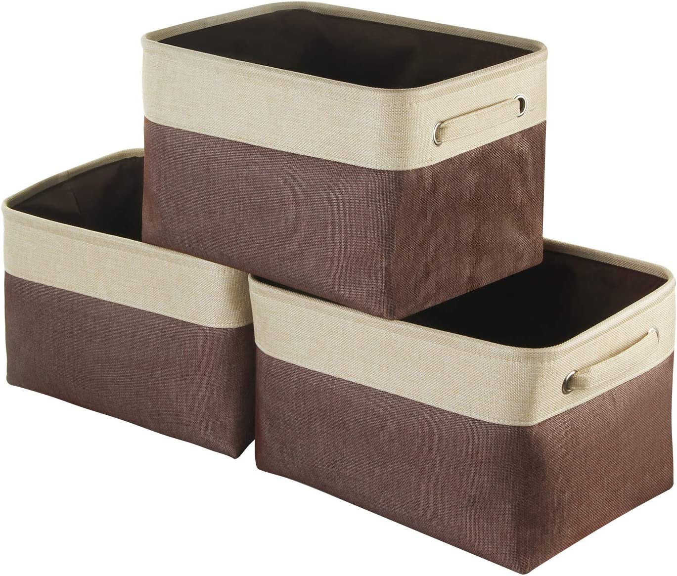 Awekris Large Storage Basket Bin Set [3-Pack] Storage Cube Box Foldable Canvas Fabric Collapsible Organizer with Handles for Home Office Closet Toys Clothes Kids Room Nursery (Grey) (Coffee)