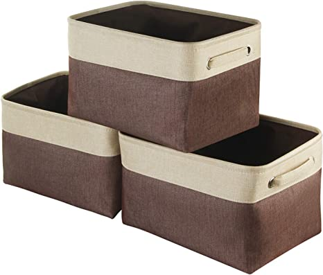 Amazon Com Awekris Large Storage Basket Bin Set 3 Pack Storage Cube Box Foldable Canvas Fabric Collapsible Organizer With Handles For Home Office Closet Toys Clothes Kids Room Nursery Grey Coffee