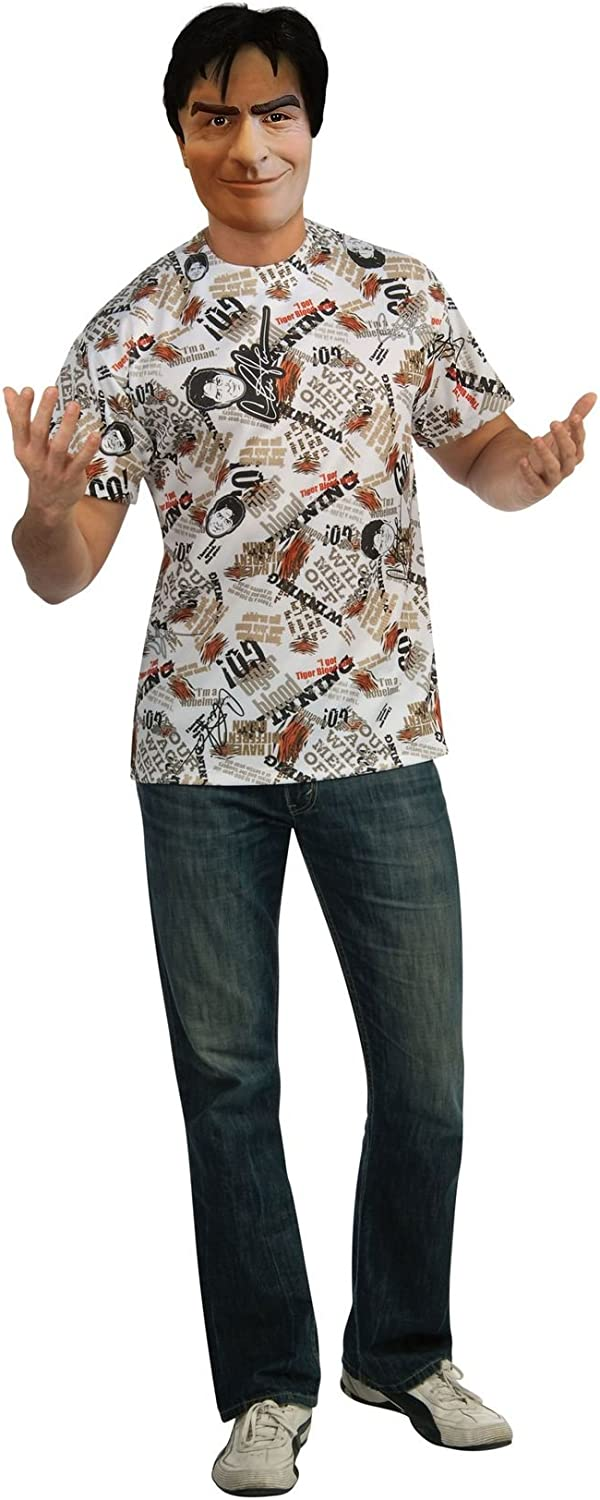 Charlie Sheen T-Shirt and Mask Adult Costume STD or XL