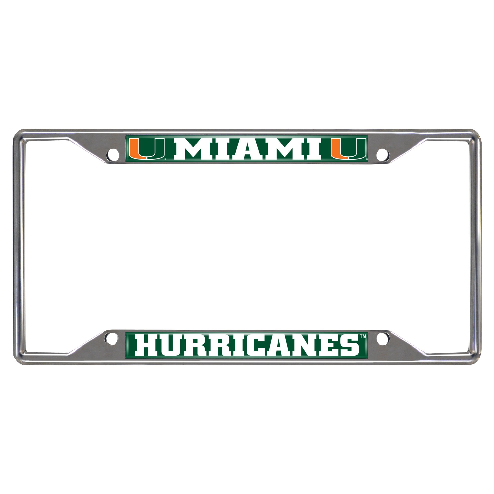 Fanmats  14913 NCAA University of Miami Hurricanes Chrome License Plate Frame by Fanmats