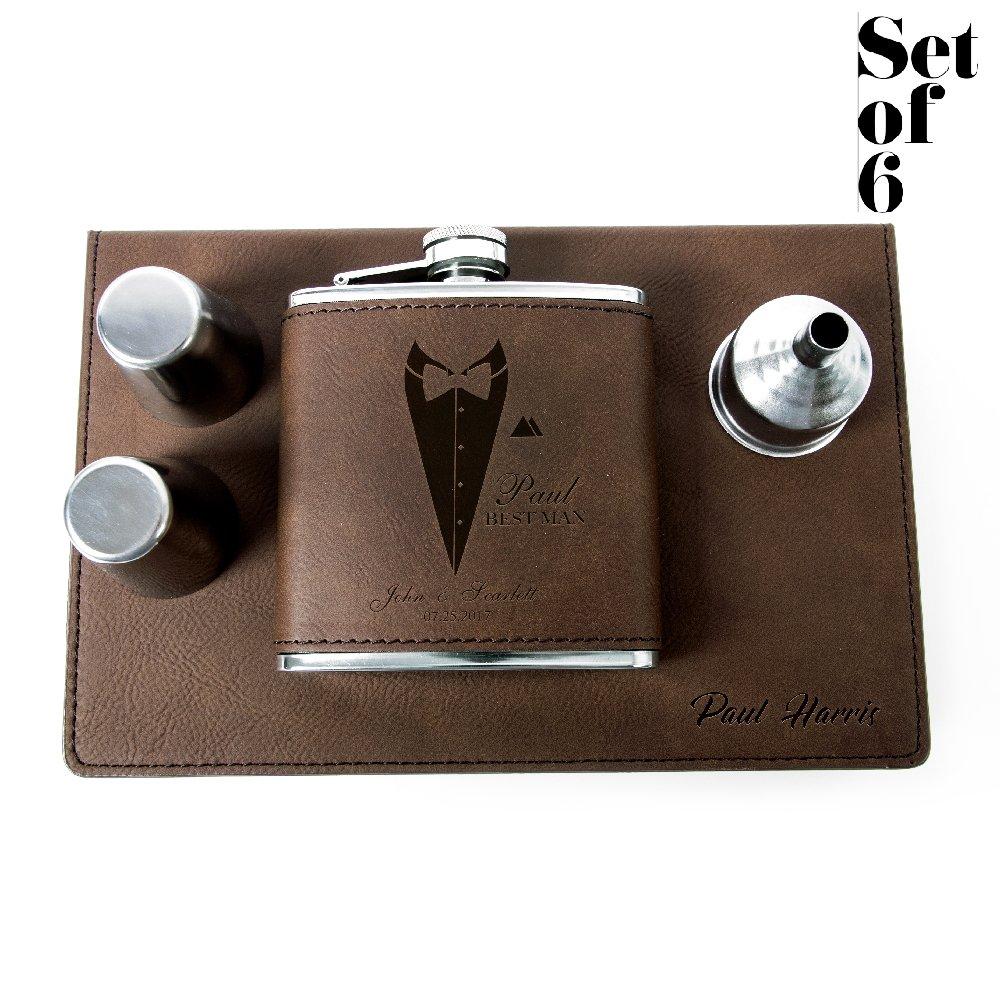 Set of 6, Set of 3, Single - Personalized Leatheratte Flask, Groomsmen Gift, Customized Groomsman Flasks, Wedding Favors, Design 3, Set of 6, Brown