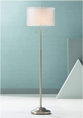Roxie Modern Floor Lamp Brushed Steel Sheer and Linen Double Drum Shade