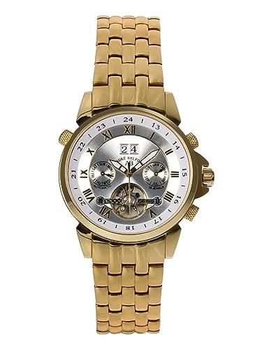 André Belfort 410135 - Reloj analógico de caballero automático con correa de acero inoxidable dorada - sumergible a 50 metros: Amazon.es: Relojes