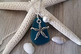 product image for Handmade in Hawaii, teal blue sea glass necklace,starfish charm,Freshwater pearl, (Hawaii Gift Wrapped, Customizable Gift Message)