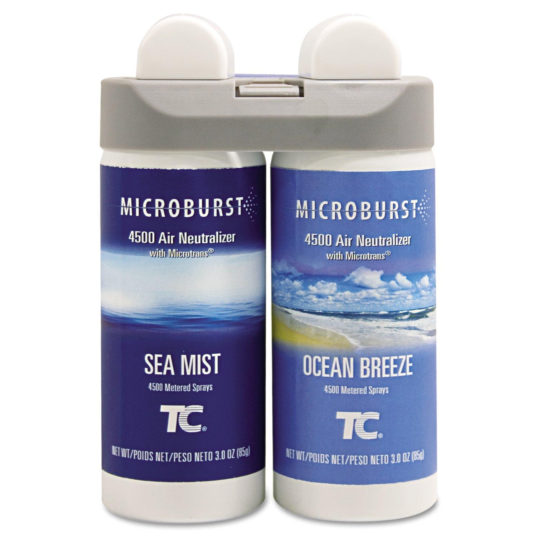 Rubbermaid Commercial 3485951 Microburst Duet 2-Fragrance Aerosol Odor Control Air Care System, Fragrance Refill, Sea Mist/Ocean Breeze