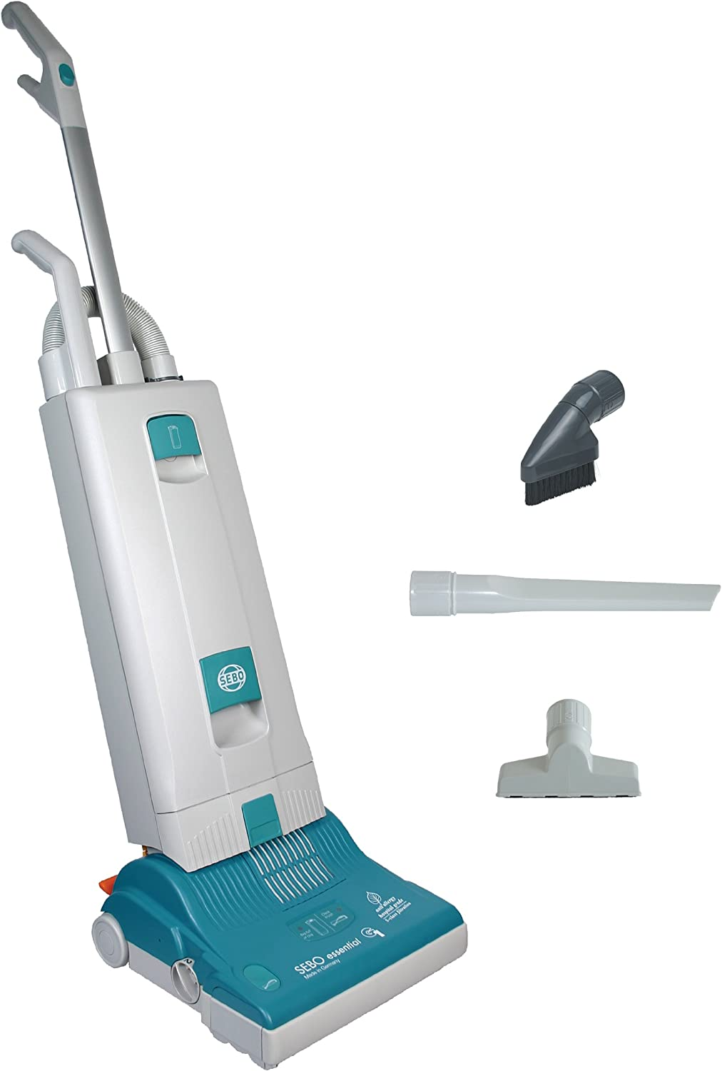 SEBO 9591AT Essential G1 Upright Vacuum with 12-Inch Power Head, Light Gray and Teal - Corded