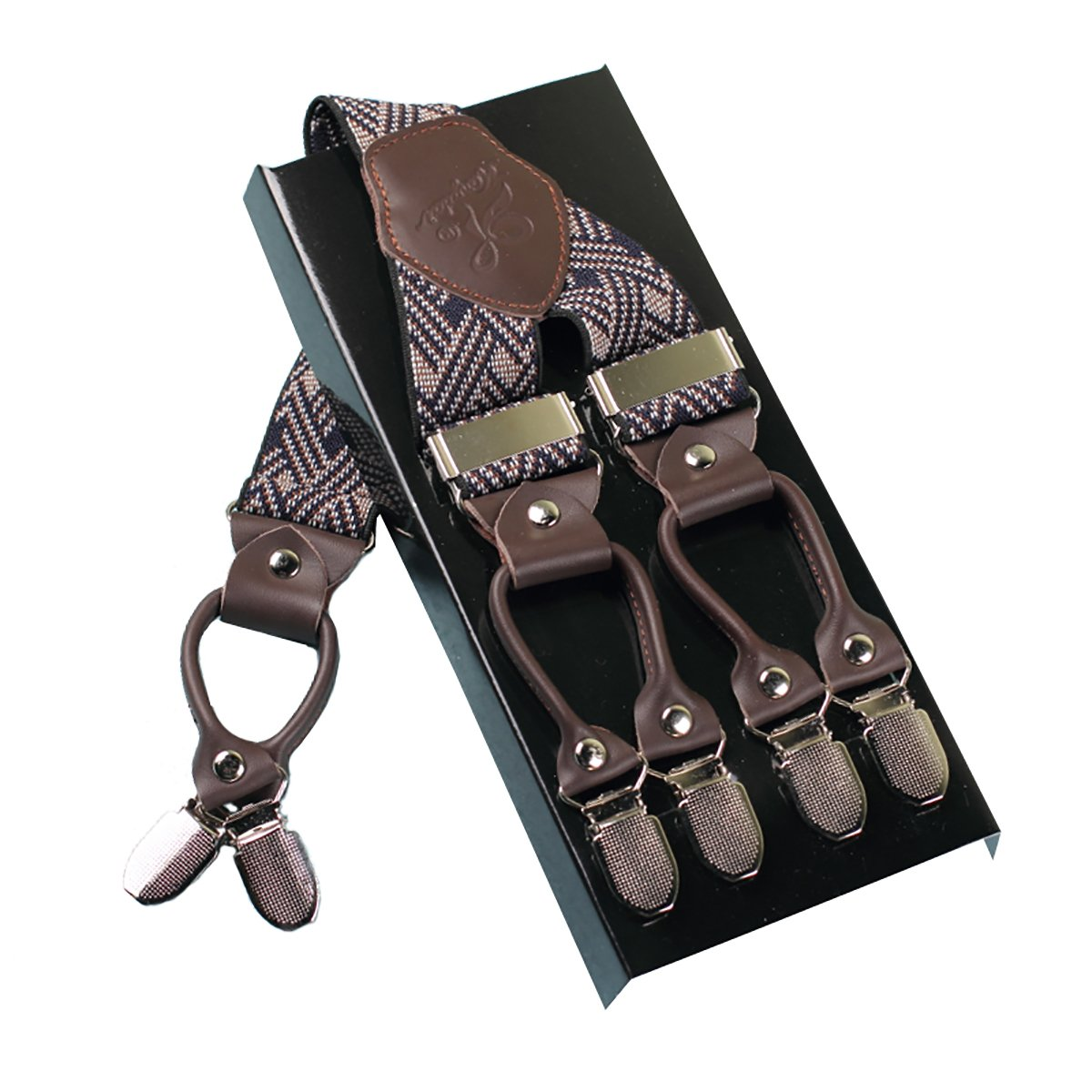 L'homme Bretelles De Mode Réglable Et Haute Qualité KANGDAI 6 Clips Avec Y Retour Durable Large Bretelles Élastique Bretelles Pour Pantalon Bretelles
