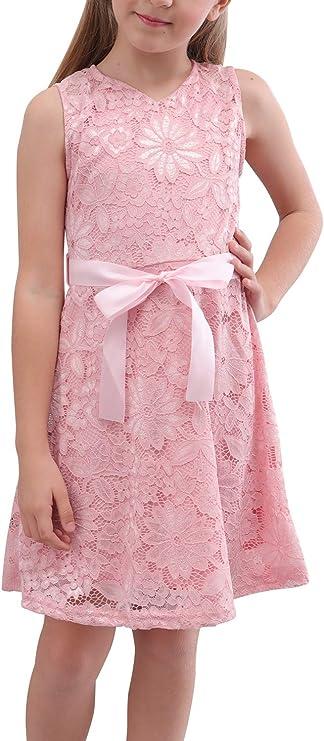 60s 70s Kids Costumes & Clothing Girls & Boys GORLYA Girls Sleeveless V Neck Elegant Retro Floral Lace Flower Girl Party Belt Dress for 4-14T $20.99 AT vintagedancer.com