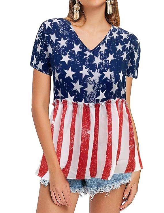 Women's 70s Shirts, Blouses, Hippie Tops Nlife Womens Summer Floral Print Top V Neck Blouse Short Sleeve Tops Peplum Blouse Shirt $17.99 AT vintagedancer.com