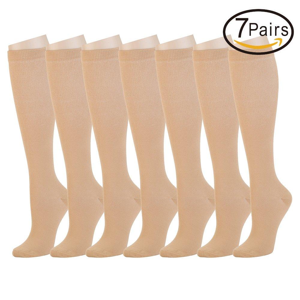 着圧ソックス 7足組 男女兼用医療用最高品、看護、運動、むくみ、糖尿、静脈瘤、マタニティ、トラベル、フライトソックス、過労性脛部痛ひざ下 B074KZRQQJ Large/X-Large|肌色 肌色 Large/X-Large