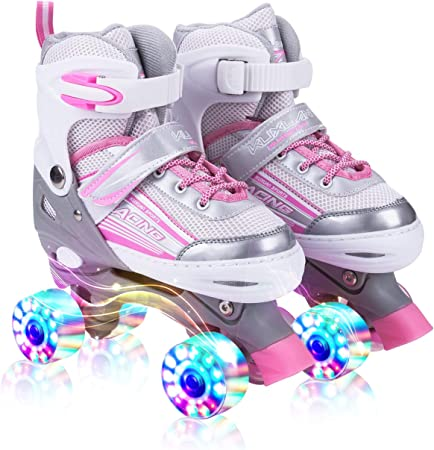 Adjustable Roller Skates with 8 Light up Wheels for Girls Beginner Skates,/ Full Protection for Indoor Outdoor,/ Fun Illuminating Roller Skates for Kids Boys and Ladies Pink M