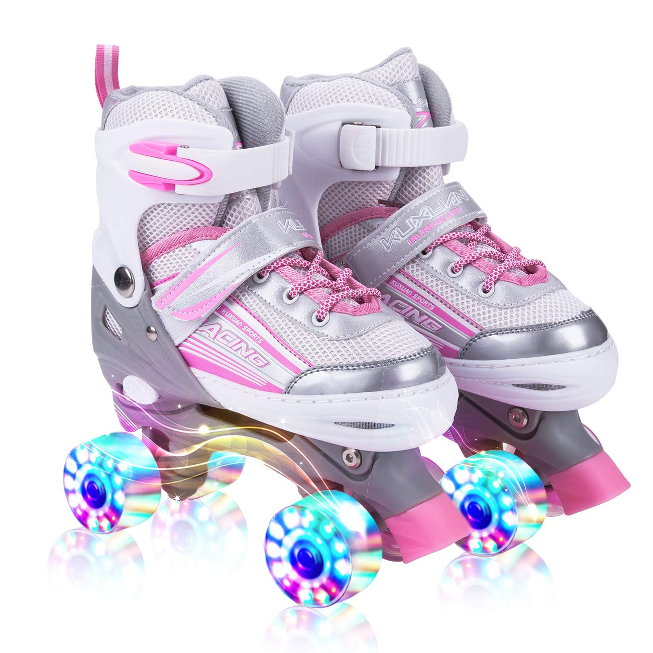 Kuxuan Saya Roller Skates Adjustable for Kids,with All Wheels Light up,Fun Illuminating for Girls and Ladies - Pink M by Kuxuan
