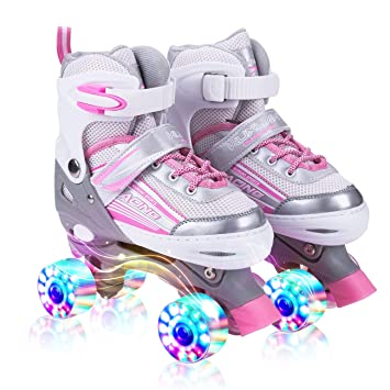 Roller Skates Amazon Com >> Kuxuan Saya Roller Skates Adjustable For Kids With All Wheels Light Up Fun Illuminating For Girls And Ladies