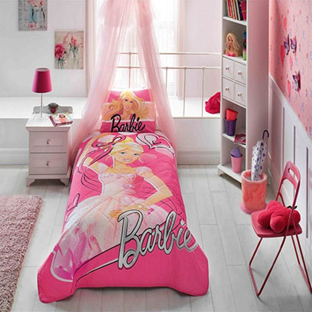 %100 Cotton Disney Barbie Ballerina Kid's Bedspread Set Single / Twin Size Kids Bedspread by Mytac