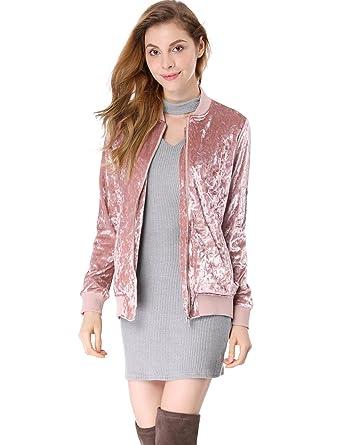 b3e00af8c8a Allegra K Women s Stand Collar Long Sleeve Velvet Bomber Classic Jacket  Pink XS (US 2